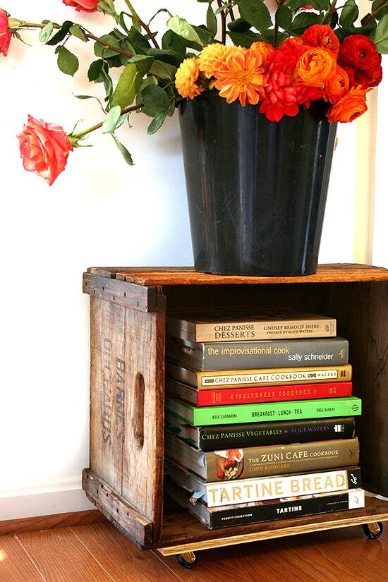 cookbooks and flowers