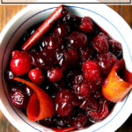 A bowl of red wine cranberry sauce.