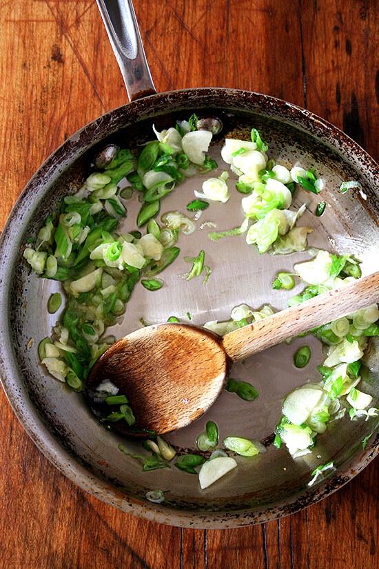 scallions and garlic