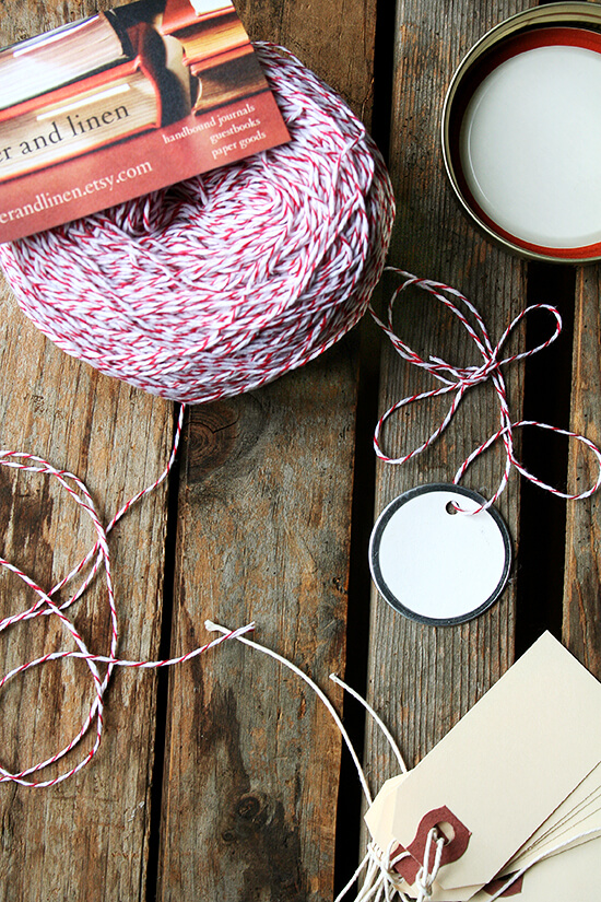 Baker's twine — everyone should have some on hand this time of year. I love this stuff. A little baker's twine is all a Ball jar or a cellophane bag or a metal-ringed gift tag needs to become holiday-ready. Order yours today! I found mine on Etsy from Paper and Linen. // alexandracooks.com