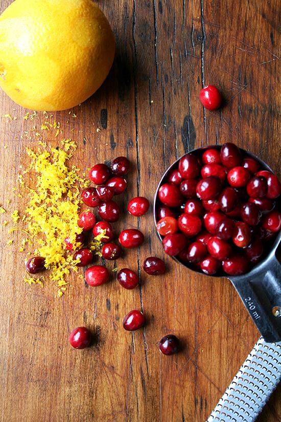 cranberries and orange zest