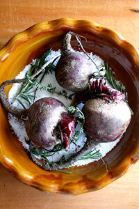 salt-roasted beets with goat cheese and walnuts