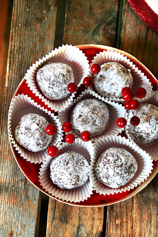 Rum balls are delicious. They are perfect for a crowd. They are perfect as a gift. They are perfect little bites of boozy goodness. I can't think of a more perfect treat to have on hand this time of year. // alexandracooks.com