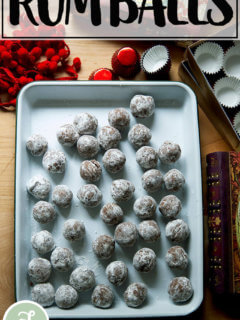 Homemade rum balls, ready to be gifted for the holidays.
