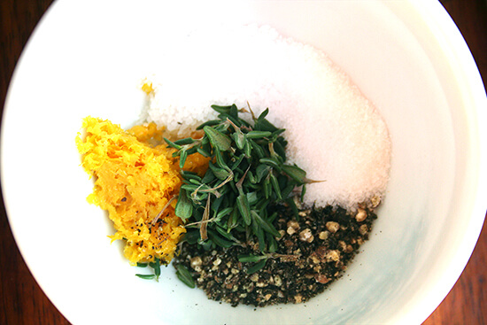 the rub — orange zest, thyme, salt, pepper and sugar