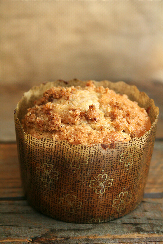 A coffeecake muffin in a decorative paper liner.