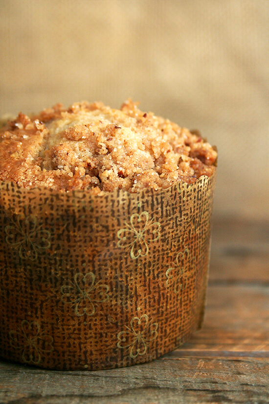 These Cooks Illustrated coffeecake muffins, made with a cinnamon-pecan-brown sugar streusel mixed into a sour cream batter, capture the spirit of breakfast treat. // alexandracooks.com