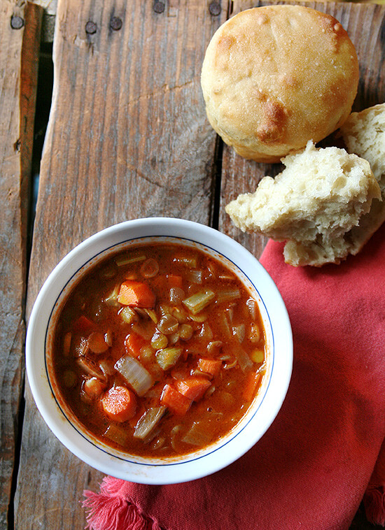 Lentil soup and homemade bread