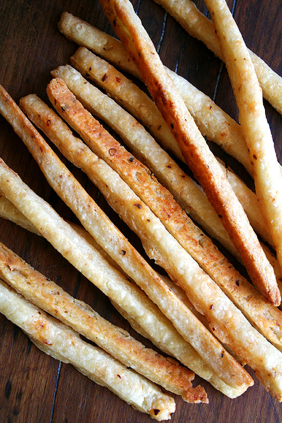 Spicy, salty, crispy — these cheese sticks are addictive and will never not appear at a party I host from here on out. They take just minutes to whip up. They look beautiful. And they couldn't be more party friendly — who doesn't like butter, cheese, salt and a little spice? // alexandracooks.com