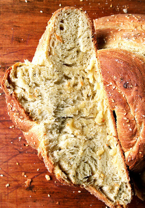 """Olive oil makes this semolina bread super moist, but it's the presence of semolina flour, an ingredient I am only just discovering, that gives this bread such a unique texture and flavor. The owner of Macrina Bakery, Leslie Mackie, to whom we can thank for this creation, says it best: """"Semolina flour gives the bread a hearty texture but also a kind of creamy, almost corn-like flavor."""" A salty, crusty exterior moreover makes the bread irresistible. // alexandracooks.com"""