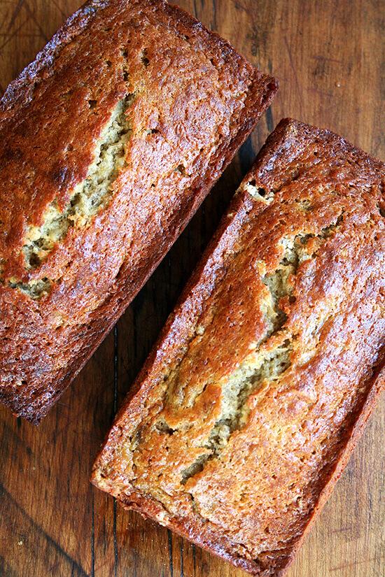 Overhead shot of two loaves of super moist banana bread.