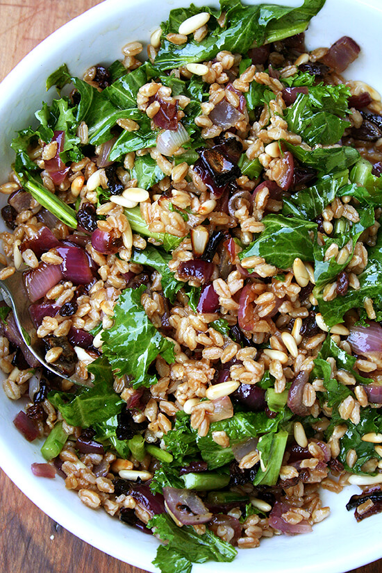 This farro salad, when surrounded by all the elements of the Zuni salad — sweet onions, crunchy nuts, spicy greens, a simple olive oil and vinegar dressing — soaks up so much goodness all the while maintaining its chewy texture and nutty flavor. // alexandracooks.com