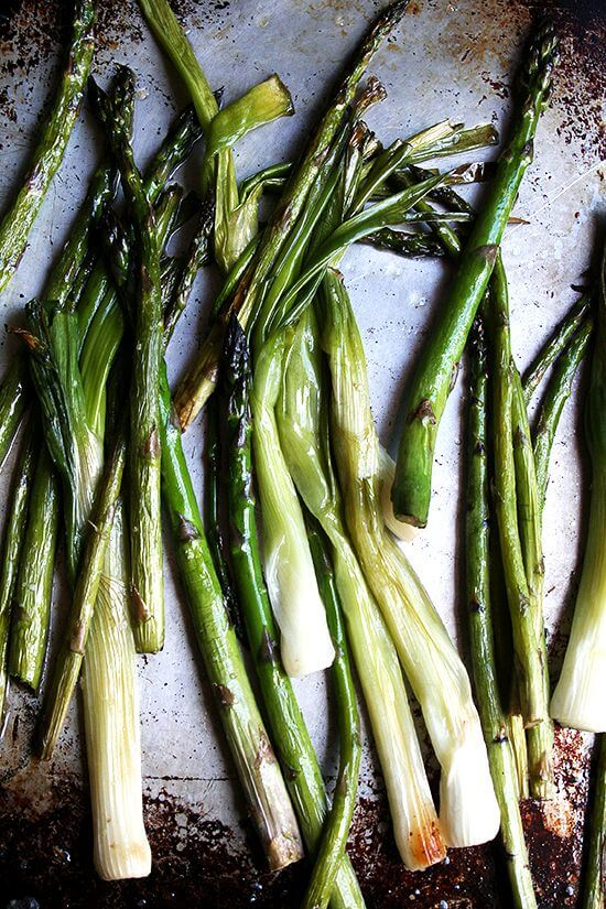 roaste asparagus and spring onions