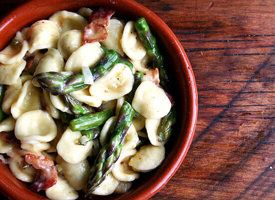 Orecchiette Carbonara with Asparagus — 2nd Easiest Weeknight Dinner