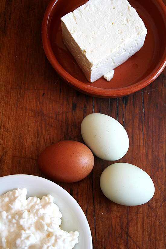 tiropitas ingredients: eggs, cottage cheese, and feta