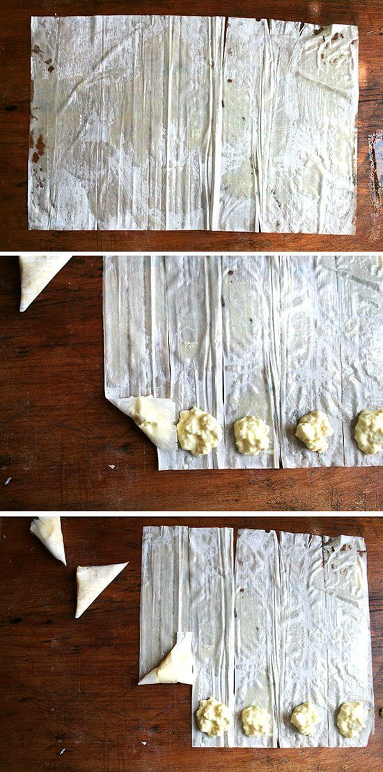 A montage of images depicting how to brush phyllo with butter, cut it into strips, fill with filling, then roll into triangles.