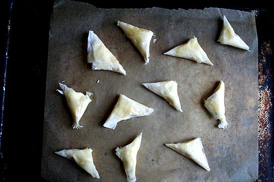tiropitas, ready for the oven