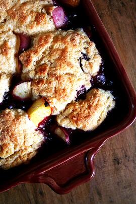 peach-blueberry cobbler