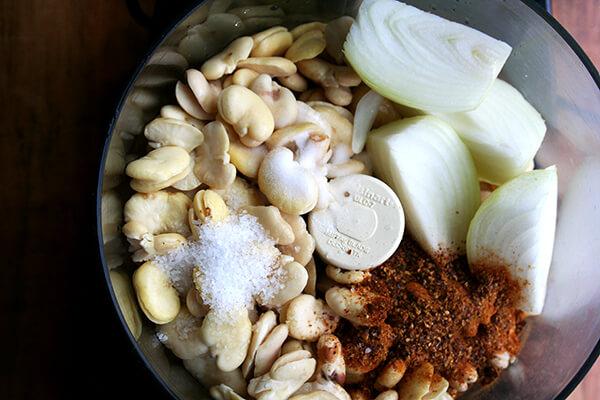 falafel ingredients in cuisinart