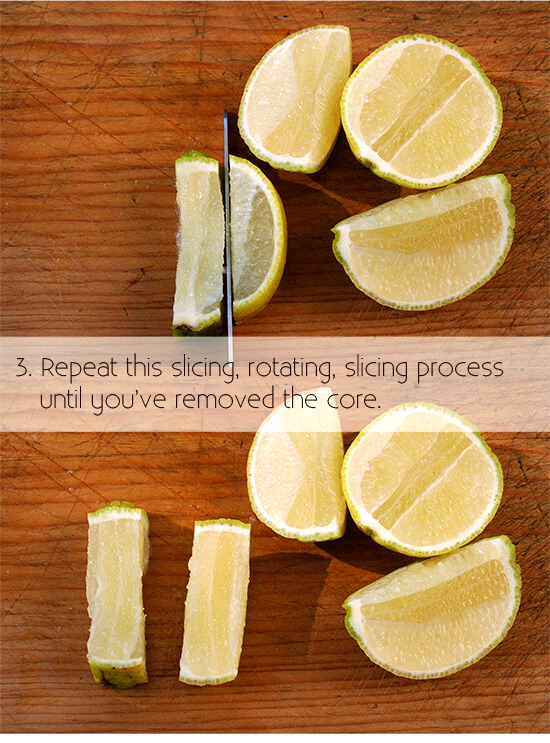 cutting a lemon for garnish, step 3
