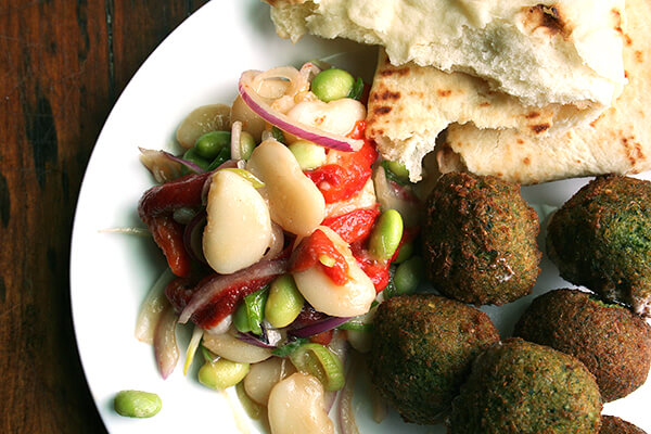 falafel, with lima bean salad
