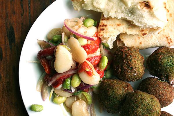 falafel, with lima bean salad