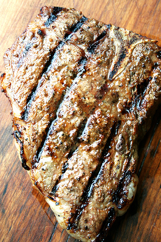 grilled grass-fed t-bone steak
