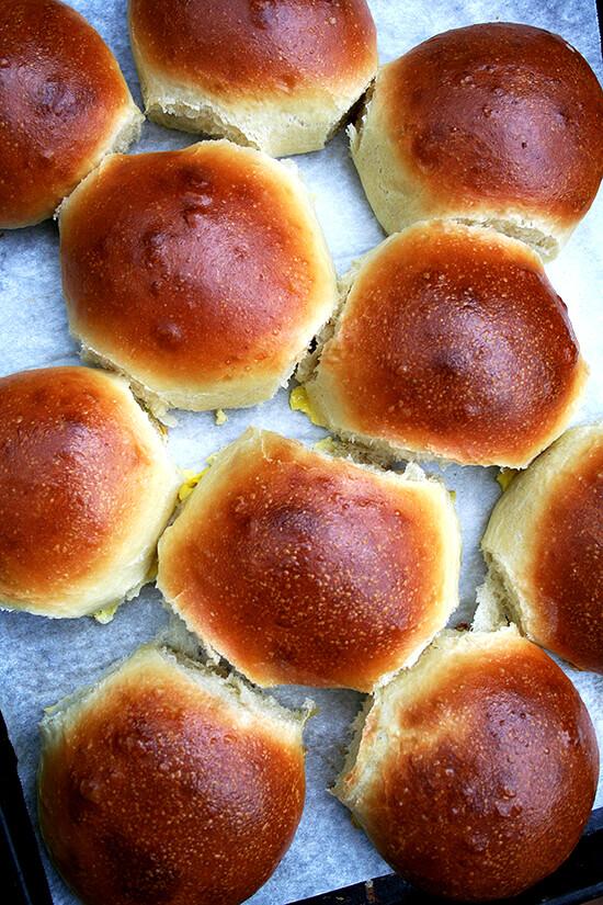 light brioche buns, baked