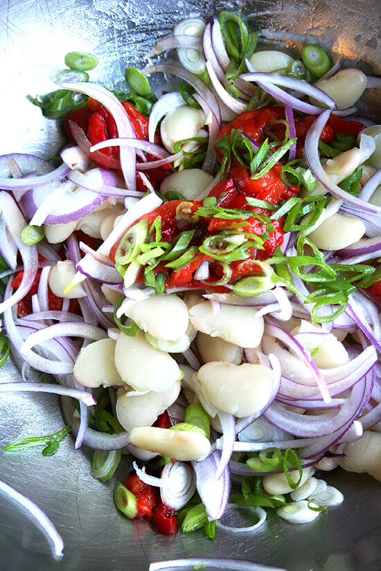 lima bean and roasted red pepper salad