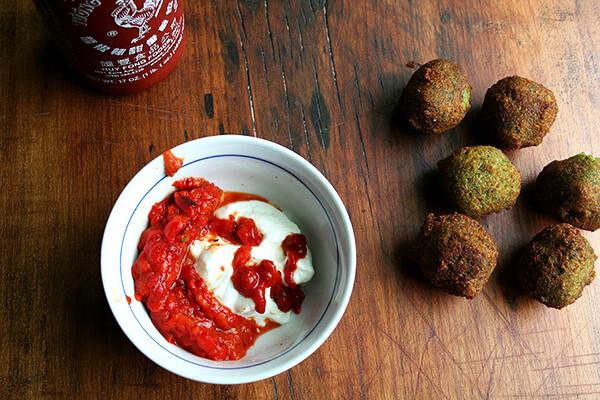 roasted red pepper, Sriracha & Greek yogurt sauce