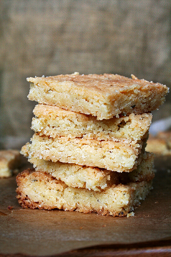 This shortbread continues to be one of my favorite foods on the planet. This variation, made with lemon zest and lemon juice, is perfect for spring and could be made gluten-free with C4C flour or your favorite gluten-free mix. // alexandracooks.com
