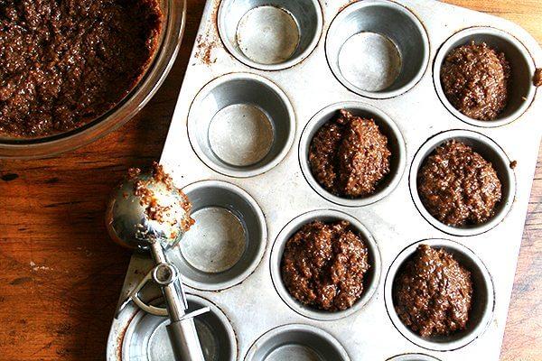 Bran muffin batter in cupcake pan.