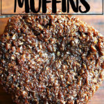 An overhead shot of a freshly baked bran muffin.