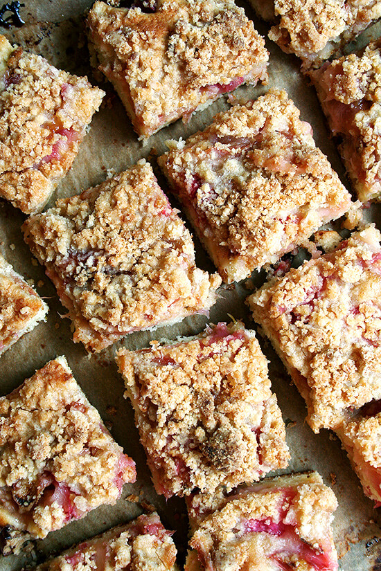 The layer of rhubarb in this rhubarb buckle is perfect — not too sweet, not too tart, which is a delicate balance to achieve with rhubarb. And the crumb top, while just a touch sandy, needs nothing more than a dab of butter to give it that crumbly, pebbly texture. The addition of lemon zest, adding a wonderful fresh, bright flavor, is essential. // alexandracooks.com