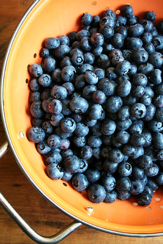 colander with blueberries