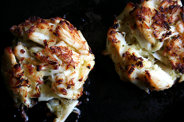 just-broiled crab cakes