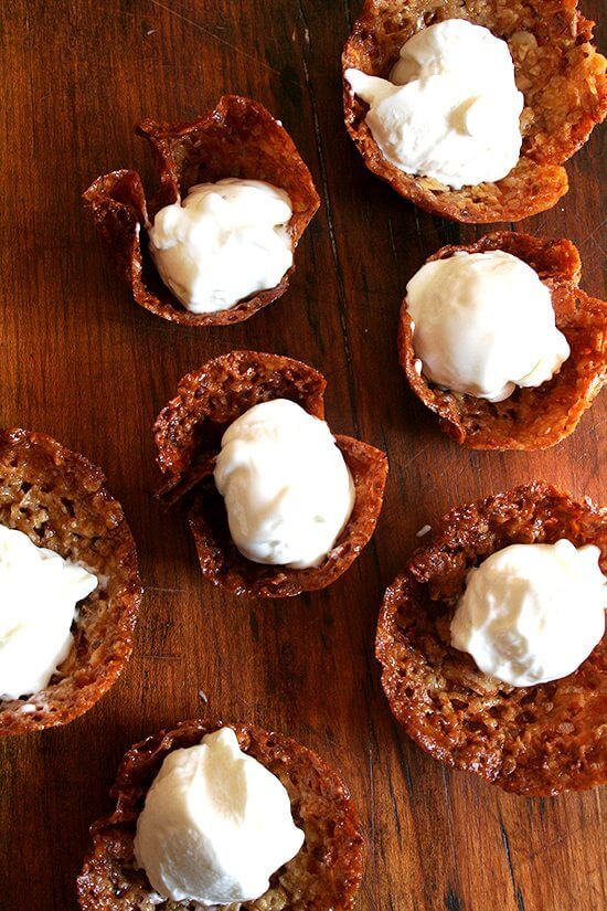 Real frozen yogurt scooped into homemade cookie cups.