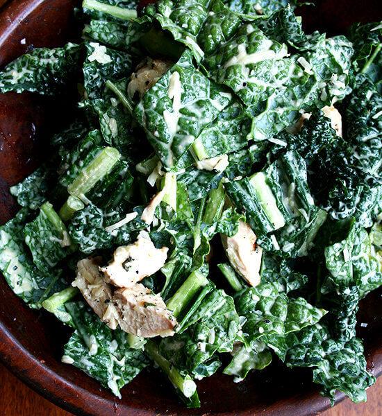 Grilled Chicken Caesar Kale Salad & Piadines, sort of
