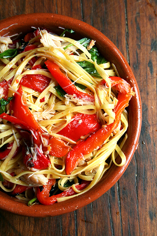 The addition of a can of crabmeat to this favorite summer linguine dish not only made it a touch tastier but also a smidgen more complete, especially for those who don't consider a sprinkling of cheese a suitable protein. // alexandracooks.com