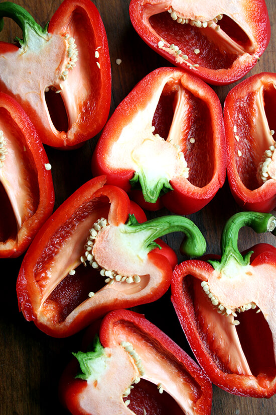 halved red peppers