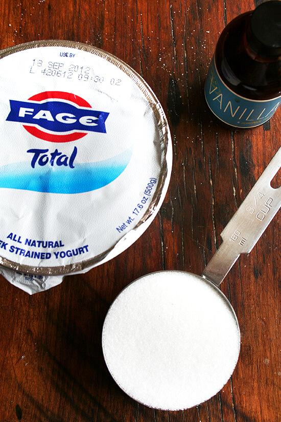 yogurt, sugar, vanilla