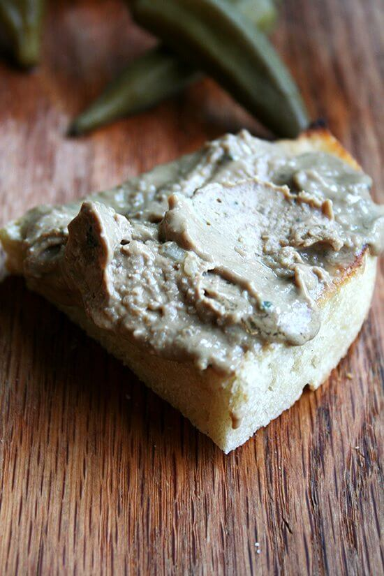 The pickled okra and pâté served at Bistro Bethem had us taken. Okra pickles beautifully and complements pâté wonderfully. This pâté, a recipe from Tartine Bread, is simple to prepare and is incredibly delicious, especially for the effort. The layer of cognac butter that gilds the top certainly doesn't hurt. // alexandracooks.com