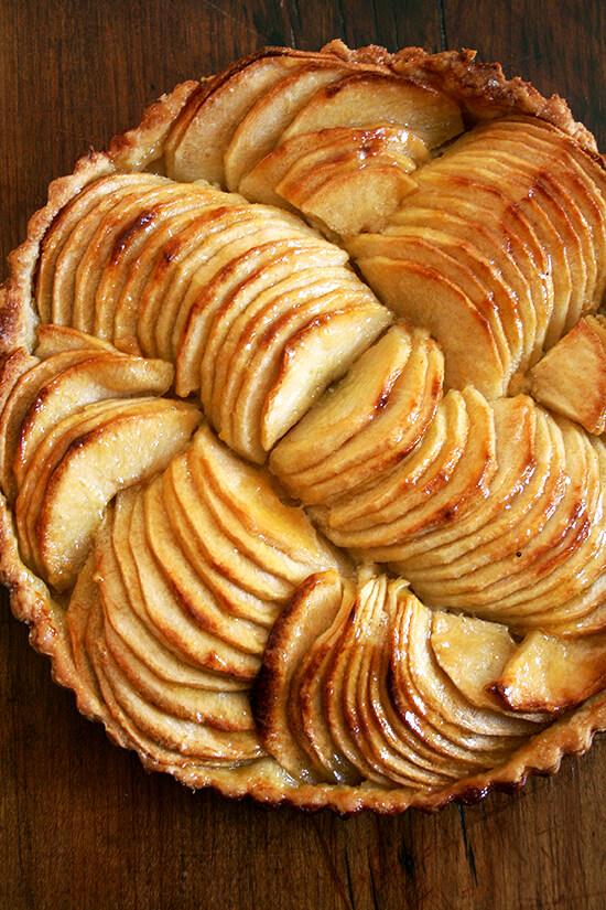 French apple tart, glazed.
