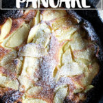 Just-baked big apple pancake.