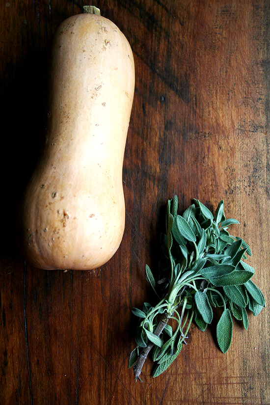 A butternut squash and bundle of sage on a cutting board.
