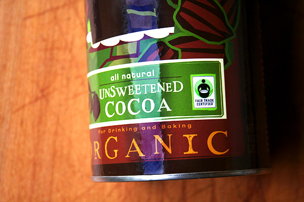 A tin of Lake Champlain Chocolates Fair Trade Unsweetened Cocoa Powder.
