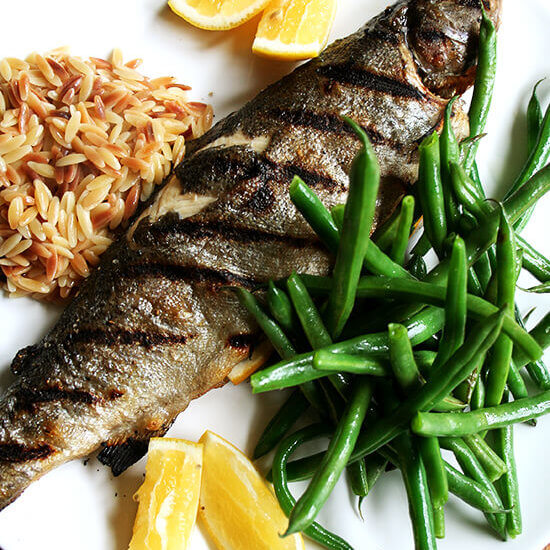 "Whole Grilled Trout | Steamed Green Beans | Brown Butter Orzo ""Risotto"""