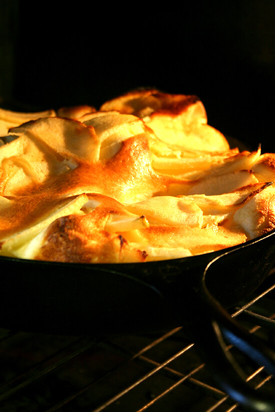 big apple pancake in oven