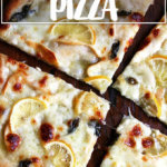 A just-baked lemon and smoked mozzarella pizza.
