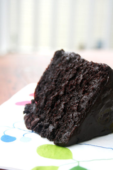 Double Chocolate Cake with Black Velvet Icing—The Best Chocolate Cake